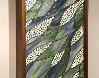Nature Flowing Stained Glass Window in Walnut Wood Wall Mounted Light Box