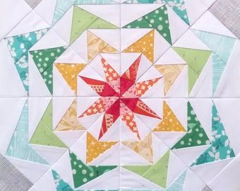 Kaleidoscope Quilt Pattern - 80's Geese #250 - Paper Piecing Pattern - 9 inch
