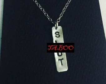 Slut Necklace, Silver Jewelry, Charm Necklace, Sterling Silver Necklace, Silver Pendant, Slutty, Mature