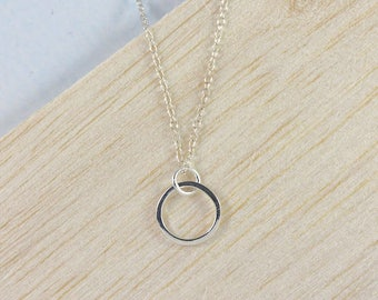 Silver Circle Necklace, Simple Ring Necklace, Minimal Silver Necklace, Delicate Silver Necklace, Eternity Necklace, Everyday Necklace
