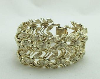 SALE Chain Link Bracelet Coro Gold Tone Designer Signed Leaves Textured Large 9001