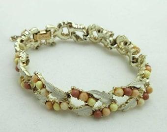 SALE Chain Link Bracelet Coro Gold Tone Designer Signed Beads Leaves Beiges 9002