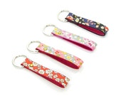 Leather Key Ring, Leather Key Chain - Floral prints