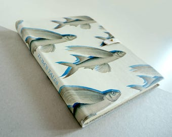 Fish Journal / Leather Notebook / Sketchbook - Flying Fish Print Handcrafted from Recycled & Acid-Free Cotton Paper