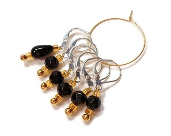 Removable Stitch Markers Crochet Row Markers Black Gold Knitting Supplies Locking DIY Crafts