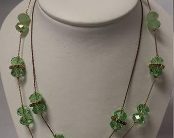 Stunning Jadeite green Necklace Faceted Crystals, Rhinestone Rondells #B422