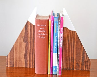 Wooden Mountain Bookends,Mountain Decor,Childrens Bookends,Wood Decor,Mountain Art,Nursery Decor,Ski Slope,Babys Room Book Ends,Real Wood