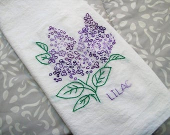 Kitchen Towels, Hand Embroidered Kitchen Dish Towel, Summertime Dish Towe,l Hand Embroidery Purple lilacs