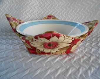 Microwave Bowl Cozy, Red Flowers Bowl, Soup Bowl Warmer, Ice Cream Bowl Holder, Hot Cold Bowl Cover, Fabric Bowl Cozie, Reversible Cozy