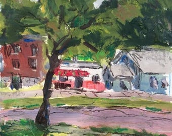 Urban street scene expressive painting, tree lined street, 11 x 14 inches, original art, impressionist acrylic,  Russ Potak