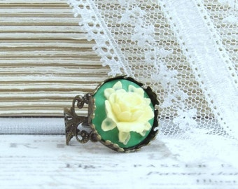 Yellow Rose Cameo Ring Green And Yellow Ring Yellow Flower Ring Adjustable Ring Rose Cameo Jewelry