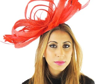 Red Trifle Fascinator Hat for Weddings, Occasions and Parties on a Headband