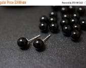 SWEET SALE SALE Rare Natural Genuine Half Drilled Jet Black Agates Round Beads for Earrings Pendants - 6mm - 4 pieces
