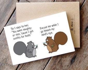 Naughty or Nice - Printable Funny Squirrel Christmas Card