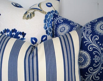 INDIGO IVORY COVERS-Choose Your Design - Decorative Designer Pillow Covers - Modern Floral- Suzani- Stripe -Throw/Lumbar /Bolster Pillows