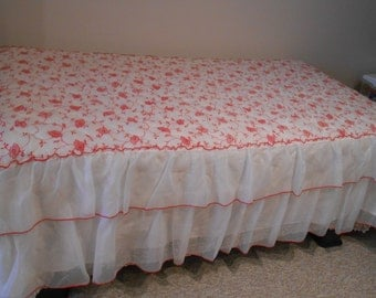 70s Lightweight nylon quilted ruffled red flower covered bedspread