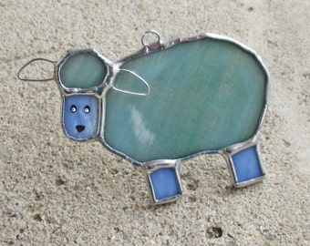 Blue and Green Sheep Stained Glass Home Decor Suncatcher