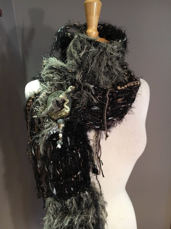 Black Hand knit funky scarf, 'Taupe Black' Handmade fringed knit black taupe tan with bling textures, knit scarf with novelty fibers, boho