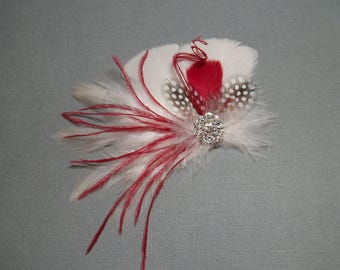 Wedding Hair Piece Ivory and Red Feather Fascinator Bridal Hair Clip fall bride comb accessory hairpiece bridesmaid