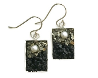 Pearl, Pyrite and Tourmaline Micro Mosaic Earrings