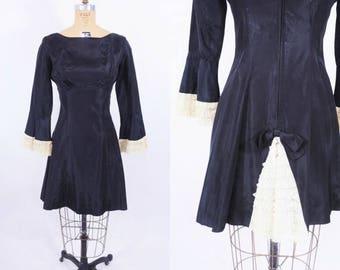 "50% OFF SALE // 1960s dress vintage 60s black french maid bustle mini party dress M W 27"""
