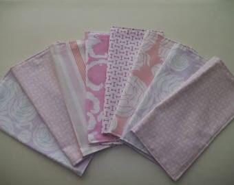 Cloth Napkins ~ Set of 8 Napkins ~ Pastel Napkins ~ Tea Napkins ~ Reversible Napkin ~ Shabby Chic ~ Cottage Floral Napkin ~ Pink Napkins