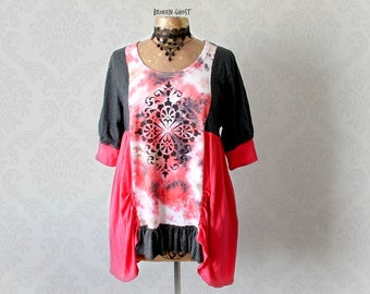 Boho Women's Shirt Coral Slouchy Top Hand Painted Loose Romantic Blouse Upcycled Clothing Bohemian Chic Eco Friendly Clothes M L 'SAGESSE'