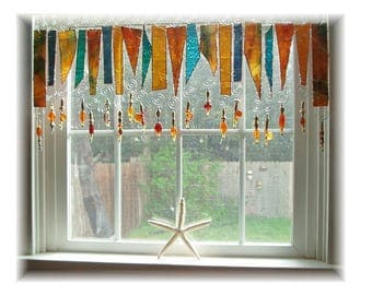 Amberosia NUMBER ONE Stained Glass Window Treatment Kitchen Valance Curtain