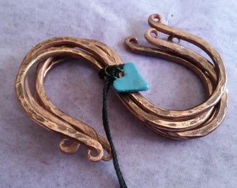 Hand Forged Copper S Hooks ( set of 4), Hangers, S Hooks,Handmade, Home Decor, Kitchen, Garden,Copper Hooks, Utility Hooks, Dispaly Hooks,