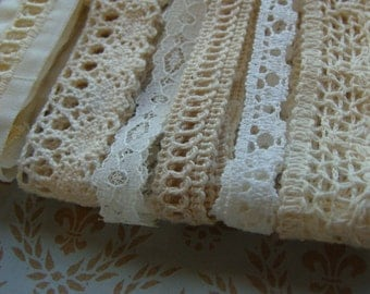 Vintage and Antique Lace Lot for Fabric Books