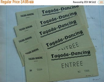 ONSALE 6 Antique French Dance Numbered Ticket Vouchers