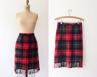plaid fringe skirt / vintage plaid skirt / St Kilda skirt