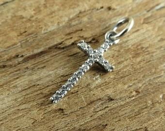 Tiny Sterling Silver CZ Cross - Sterling Silver Cross Pendant - CZ Cross