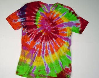 Super Sour ~ Spiral Tie Dye T-Shirt (Bella Canvas V-neck Size XL) (One of a Kind)