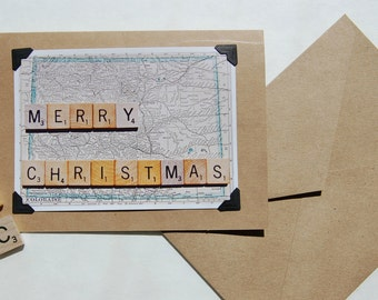Vintage map scrabble tiles Merry Christmas holiday blank inside greeting cards