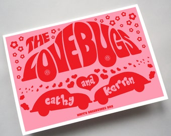 """Personalised """"Love Bugs"""" Anniversary or Birthday Card"""