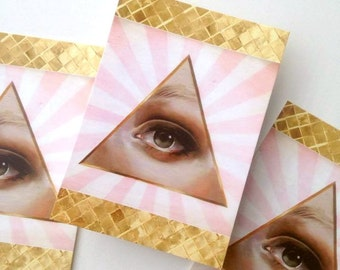 5 x Postcards set Eye of Providence / Lovers Eye lowbrow