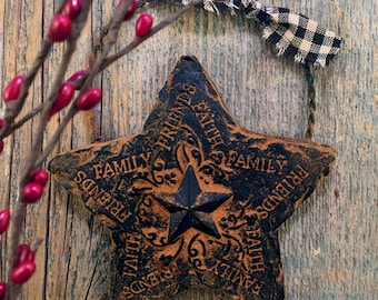 Blackened Beeswax Country Star Primitive Decor Scented Cinnamon Rusty Ornament - FREE SHIPPING