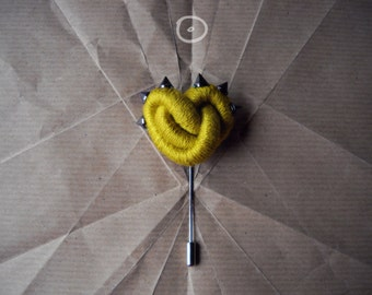 Yellow Knot Heart Stick Pin for coat or Sweater Cardigan-Ginkgo-ThousandKnots Heart brooch with spike studs by FridaWer-studded heart