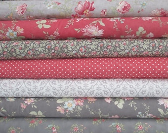 Rose Grey Poetry Prints Half Yard Fabric Bundle - Moda - 3 Sisters