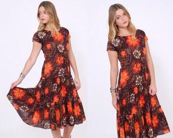 FALL SALE Vintage 70s BATIK Floral Dress Tropical Flower Print Dress Ethnic Boho Summer Dress