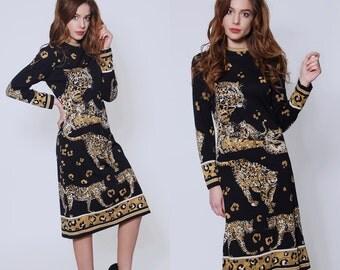 Vintage 70s LEOPARD Print PAGANNE Dress Gene Berk Printed Dress ANIMAL Print Shift Dress Mod Dress