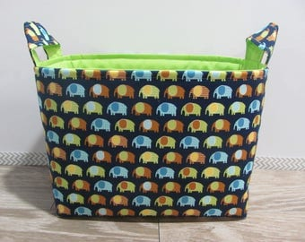 SALE LARGE Fabric Organizer Basket Storage Container Bin Bucket Bag Diaper Holder Home Decor- Size Large - Mini Elephants Navy - RTS