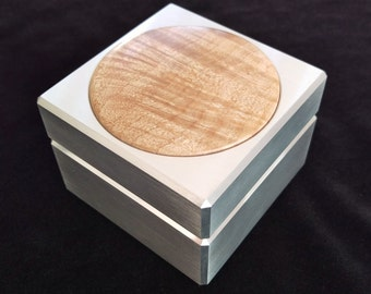 Extra Large Custom Solid Metal Engagement Ring Box w/ Figured Maple Inlay