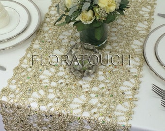 Champagne Lace Table Runner Alice Metallic Sequin Wedding Table Runner,  Sequin Table Runner, Table