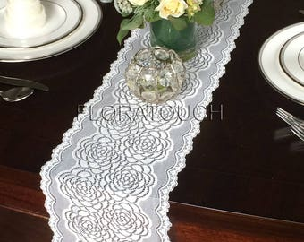 "Double Rose Off White Lace Table Runner Wedding Table Runner 7.5"" wide"