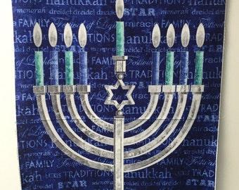 Fabric Northcott Stonehenge Happy Hanukkah Hanukkiah Menorah PANEL Candles Star of David Mogen David Jewish Holiday Judaica