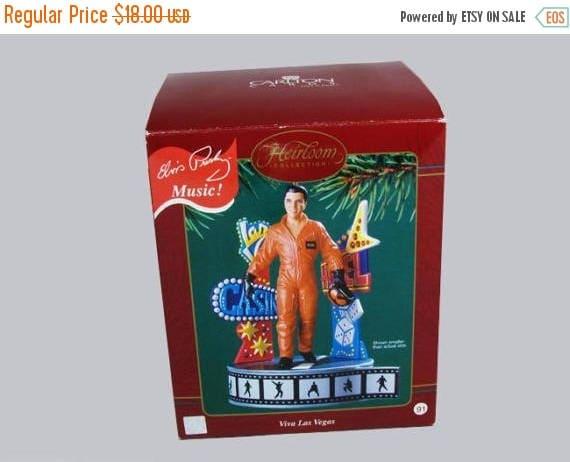 SPRING CLEANING SALE Carlton Cards Heirloom Collection Elvis Presley musical Christmas ornament plays Viva Las Vegas Epe Elvis Presley Enter