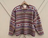 90s vintage Woolrich Colorful Earth Tone Nordic Patterned and Embroidered V-Neck Woolen Sweater