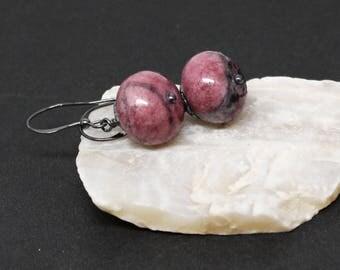 Rhodonite Gemstones . Oxidized Sterling Silver Dangle Drop Earrings . Mulberry Pink, Black . E17068